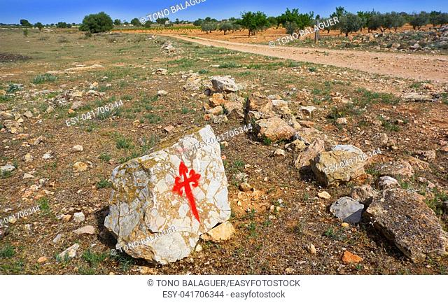 Saint James Way Templarios cross sign by Camino de Santiago of spain