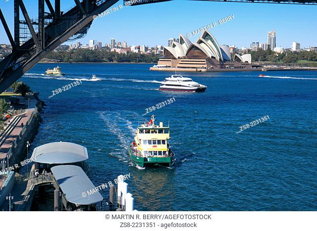 harbor bridge,ferry and opera house,sydney,new south wales,australia