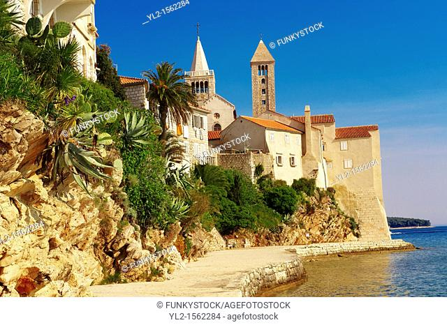 The medieval town and cliffs Rab  Rab Island, Craotia