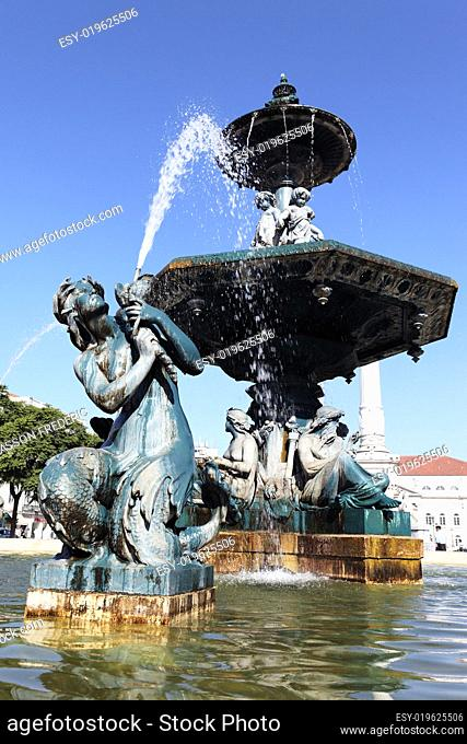 fountain on rossio square in Lisbon
