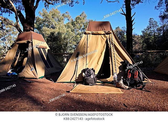 Wilpena Pound Campsite, popular with bushwalkers. Flinders Ranges, South Australia