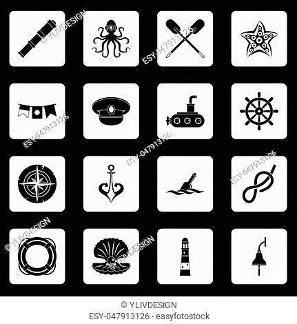 Nautical icons set in white squares on black background simple style vector illustration