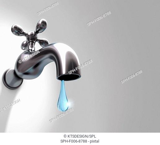 Dripping tap, computer artwork