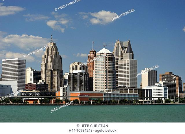 Detroit, Detroit River, river, Financial District, Great Lakes, International Riverfront, Michigan, Mid West, Travel, USA, United States, America, buildings