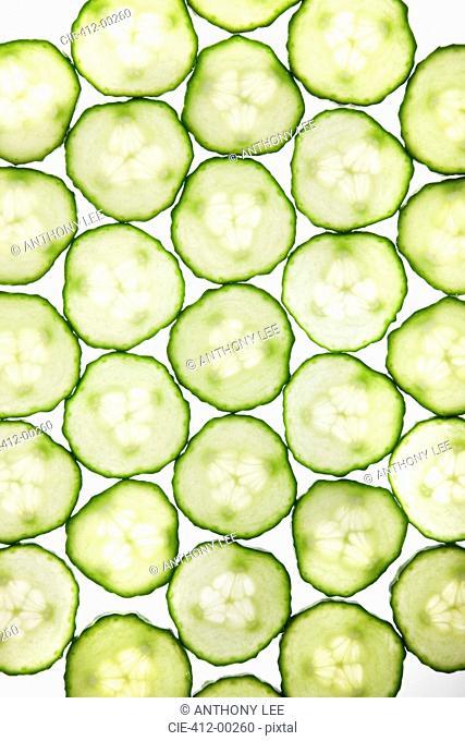 Full frame of cucumber slices