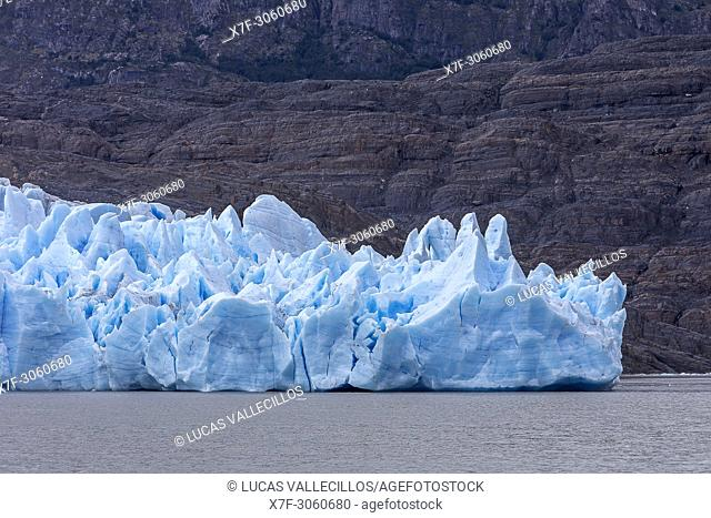 Detail, Grey Glacier, in Grey Lake, Torres del Paine national park, Patagonia, Chile