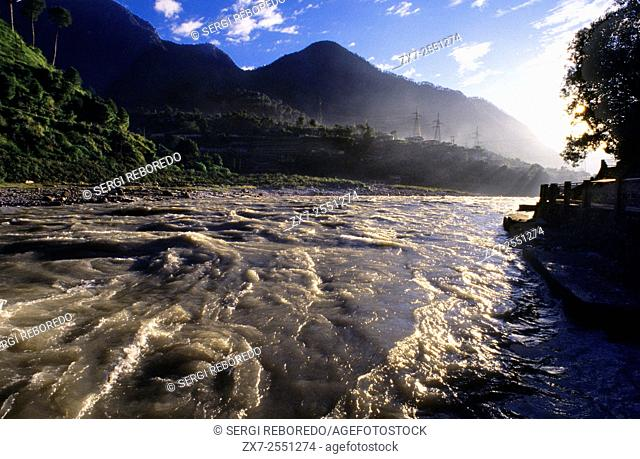 Uttarkashi, Uttaranchal, India. The river in front of the Ujali colony, located 1 kilometre outside Uttarkashi