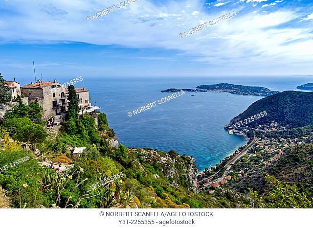 Europe, France, Alpes-Maritimes. Eze. The famous perched village of Eze and Saint-Jean-Cap-Ferrat.