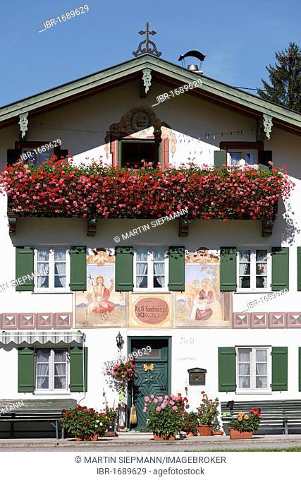 Laichhansen farmhouse, Jachenau-Laich, Isarwinkel, Upper Bavaria, Bavaria, Germany, Europe