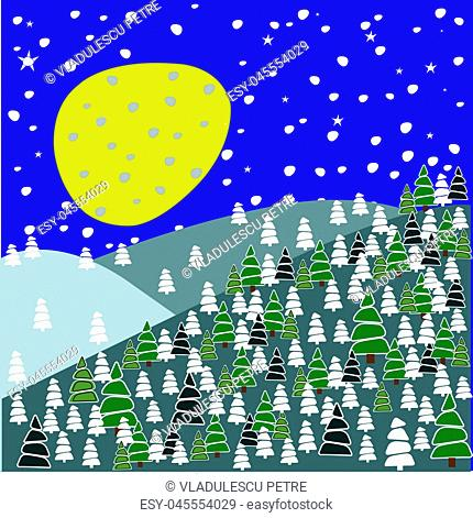 pine forest with snowflakes and stars