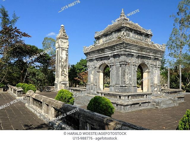 Asia, Vietnam, Hue  Stele and pavillion at the royal tomb of Dong Khanh  Designated a UNESCO World Heritage Site in 1993