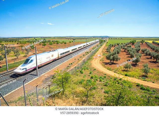 AVE high-speed train traveling along La Mancha. Fernan Caballero, Ciudad Real province, Castilla La Mancha, Spain