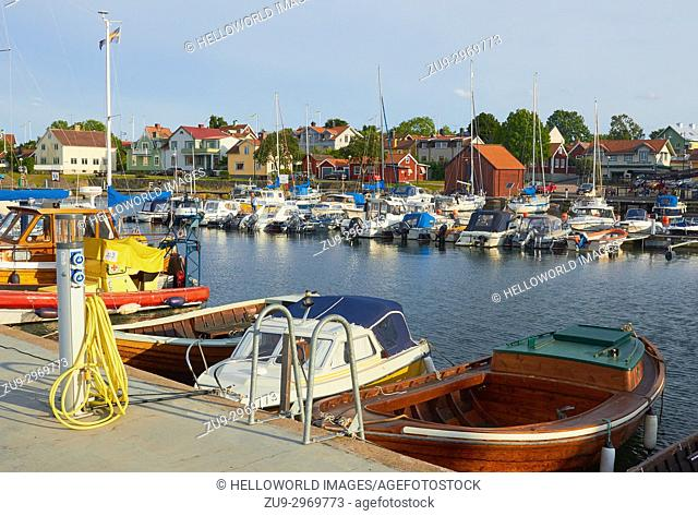 Oregrund Harbour and boat electric charging point, Uppsala County, Sweden, Scandinavia