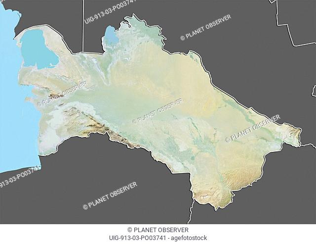 Relief map of Turkmenistan with border and mask. This image was compiled from data acquired by landsat 5 & 7 satellites combined with elevation data