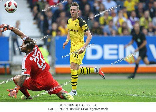 06 September 2018, Germany, Osnabrueck: Soccer, Test match, VfL Osnabrueck vs Borussia Dortmund, in the stadium at the Bremer Bruecke