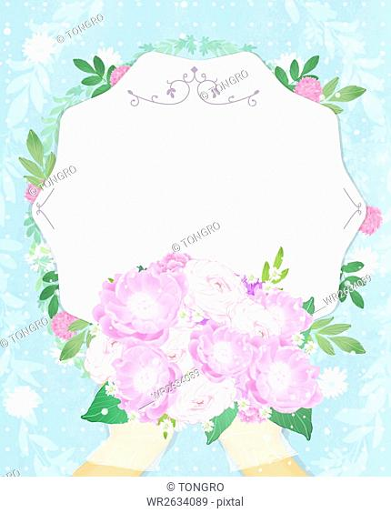 Invitation card with hands holding flowers