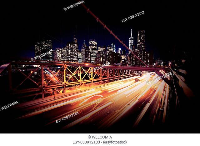 Evening Traffic in the New York City. Brooklyn Bridge Traffic. United States of America