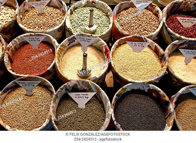 Legumes at San Anton Market, Madrid, Spain