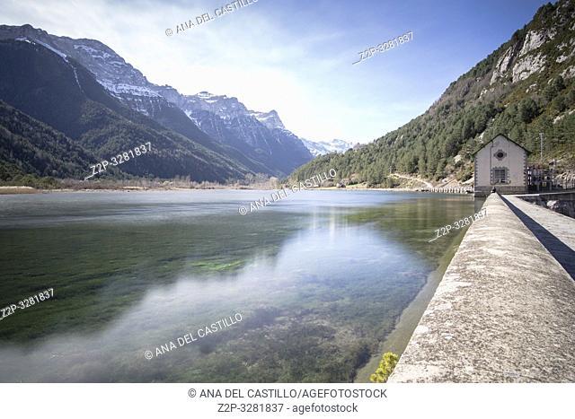 Pineta reservoir in Bielsa Pyrenees mountains Huesca Aragon Spain