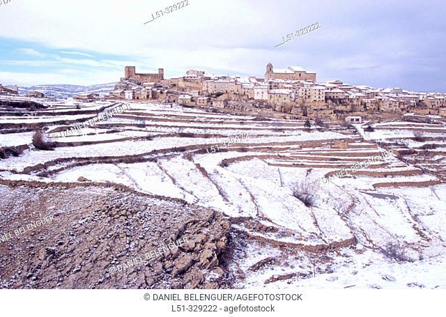 Puertomingalvo snow covered. Teruel province. Aragón. Spain