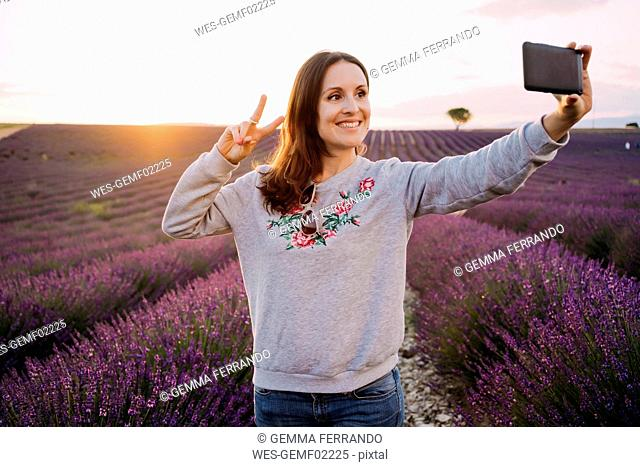 France, Valensole, portrait of smiling woman taking selfie in front of lavender field at sunset