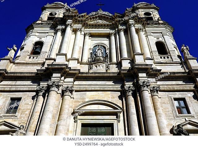 Europe, Italy, Sicily, Catania, San Francesco d'Assisi church, front facade seen from Piazza San Franceso d'Assisi