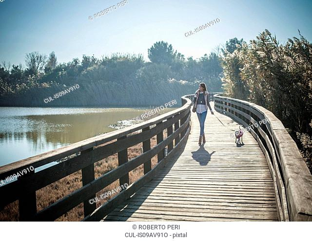 Full length front view of young woman wooden elevated walkway walking dog