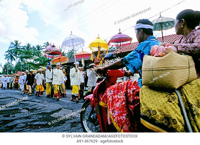 Procession for Odalan festival, from Manenga temple. Bali island. Indonesia