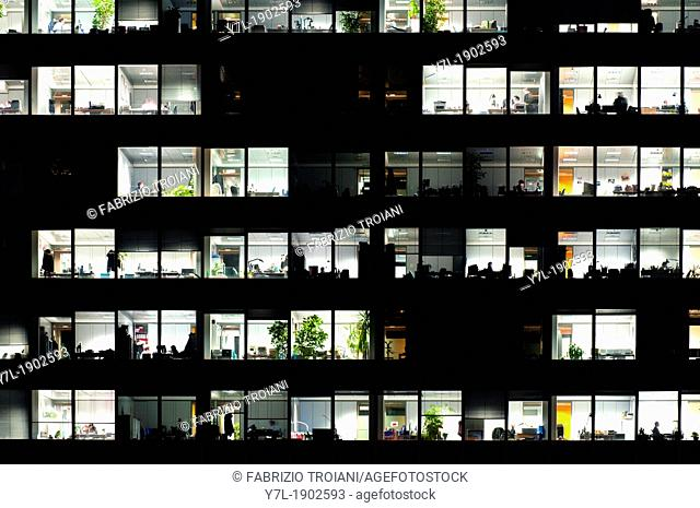 Windows in an office building at night