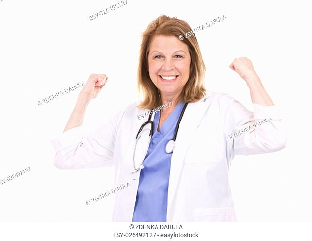 caucasian woman wearing doctor's scrubs on white background