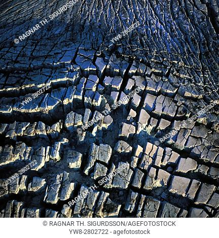 Crevasses in Sidujokull Glacier, Iceland. Glacial surges- a glacier begins to move much faster then its normal velocity This has caused the 1000 year old ice of...