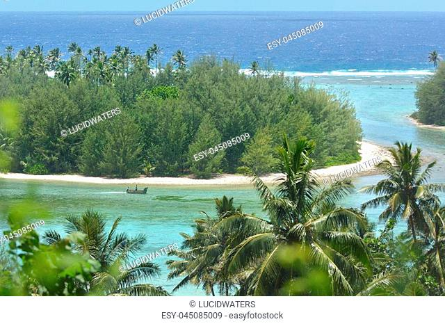 Aerial landscape view of islets in Muri Lagoon in Rarotonga, Cook Islands