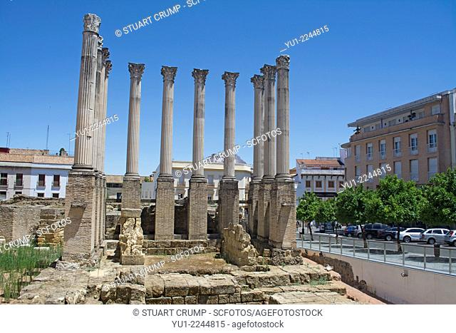 Remains of the Roman temple of Córdoba, Córdoba, Andalusia, Spain, Europe