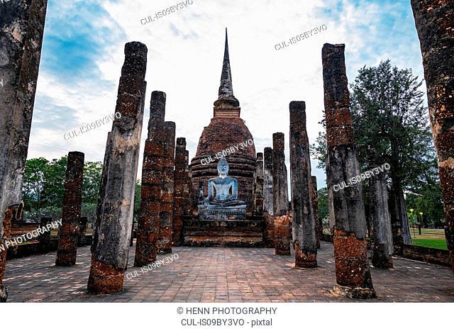 Wat Sa Si ancient buddhist temple and statue, Sukhothai historical park, Sukhothai, Thailand