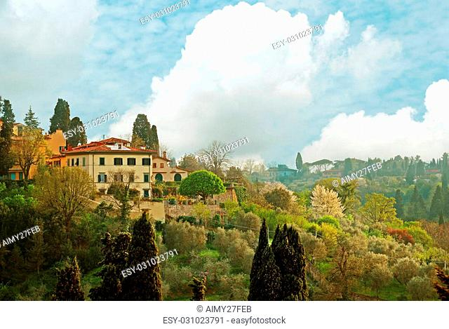 FLORENCE, ITALY - APRIL 16 2015: View over the Tuscan countryside in Florence Italy