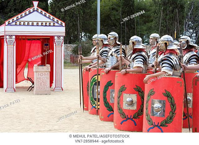 Live reenactment of Roman Legionnaire army in line formation during the annual 'Tarraco Viva' festival held in Tarragona, Catalonia, Spain
