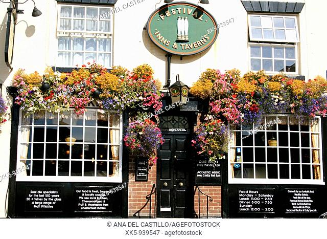 Typical English pub in Chesterfield, UK