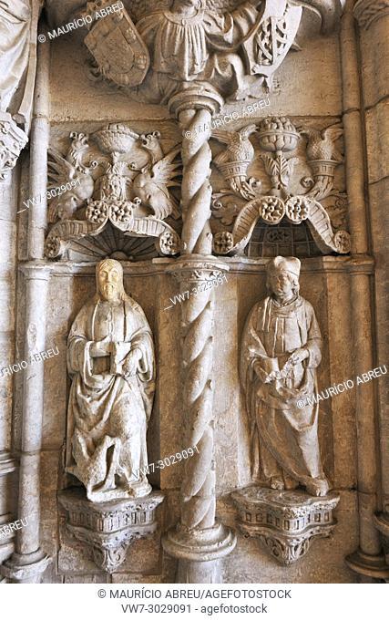 Detail of the portal of Santa Maria de Belém church, Mosteiro dos Jerónimos (Jerónimos Monastery), a Unesco World Heritage Site. Lisbon, Portugal