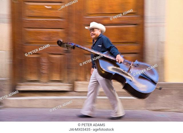 Double Bass player in street, Guanajuato, Guanajuato state, Mexico