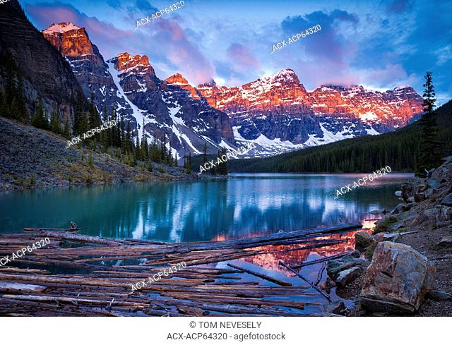 Sunrise on Moraine Lake and the Valley of the Ten Peaks in Banff National Park, Alberta, Canada