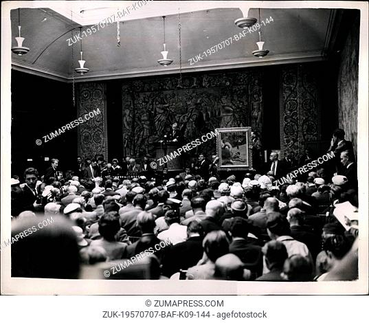 Jul. 07, 1957 - Famous Art collection On Sale At Sotheby's: The auction of the Weinberg collection of French Impressionist paintings - valued at about -500