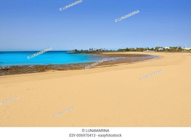 Arrecife Lanzarote Playa del Reducto beach aerial  view in Canary Islands