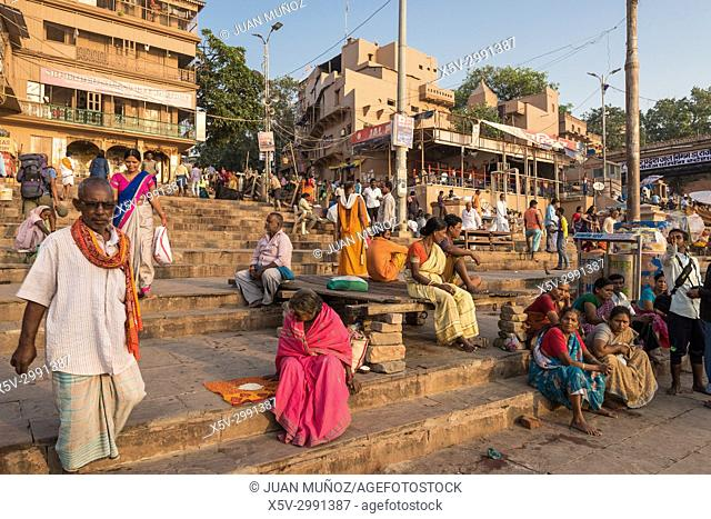 Ghats in Varanasi, Varanasi, Uttar Pradesh, India, Asia