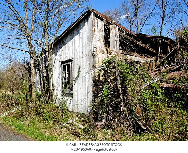 A wrecked building is slowly being reclaimed by nature, Pennsylvania, USA