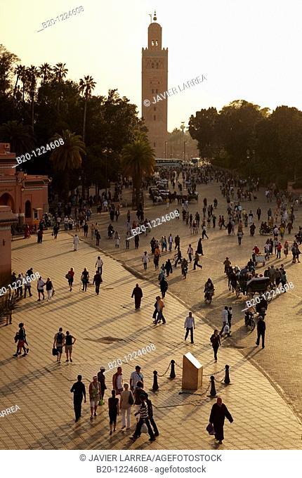Djemaa El Fna Square, Koutoubia Mosque, Marrakech, High Atlas, Morocco