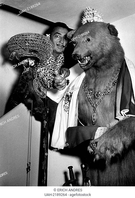 Spain, 1957 - Salvador Dali with stuffed bear in his house in Figueras, Girona