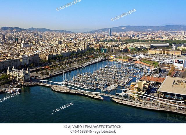 Moll d Espanya  Rambla de Mar and Port Authority building  Maremagnum  Barcelona  Catalonia  Spain