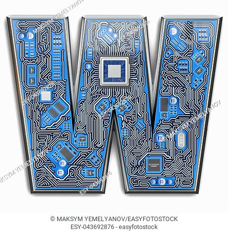 Letter W. Alphabet in circuit board style. Digital hi-tech letter isolated on white. 3d illustration
