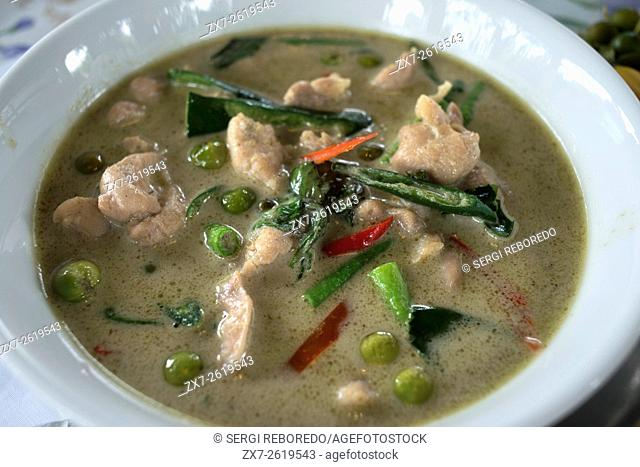 Tipycal dish from Bangkok, Thailand. Green curry chicken in coconut milk. Khang Keaw Wan Gai. Amita Thai Cooking School. Bangkok