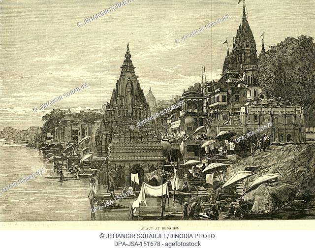 Ghat at Benares ; Varanasi ; Uttar Pradesh ; India